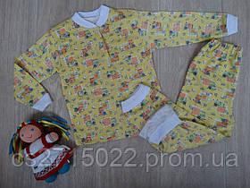 """Детская пижама с начесом """"Котики"""" желтая"""
