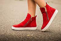 Ботинки женские красного цвета из натуральной замши осень-зима коллекция 2016-2017, Б-407 TM Gino Figini г. Днепропетровск Б-407