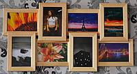 Рамка для фото на 8 фотографий, цвет дерево беж.