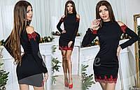 Женское платье черное с красным кружевом