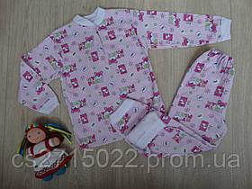 """Теплая детская пижама """"Мишки"""" розовая"""
