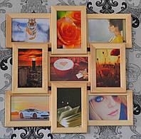 Мультирамка на стену на 9 фото, цвет дерево.