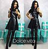 Женское стильное кожаное платье, 4 цвета, фото 3