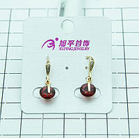 Аккуратные позолоченные серьги Xuping с алыми круглыми кристаллами. Позолоченные украшения для женщин. 332