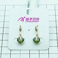 Красивые позолоченные серьги Xuping с салатовыми круглыми кристаллами. Позолоченные украшения для женщин. 331