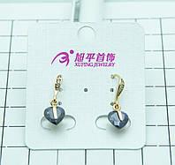 Ювелирные позолоченные серьги Xuping с фиолетовым кристаллом в виде сердца. Позолоченная бижутерия опт. 328