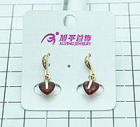 Позолоченные серьги Xuping с алыми сердцами в стразах. Элитная позолоченная бижутерия для женщин. 327