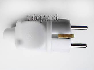 Вилка электрическая Alfa Евро с заземлением белая