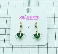 Нежные позолоченные серьги с салатовыми кристаллами в виде сердца. Бижутерия Xuping опт и розница. 326