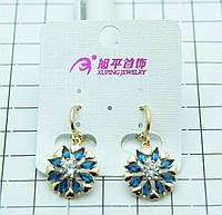 Шикарные позолоченные серьги в виде цветка. Серьги Huping с синими кристаллами в стразах. 224