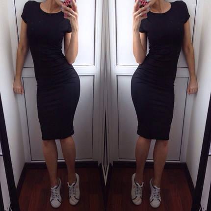 Летнее платье с коротким рукавом Трикотаж Черное, фото 2