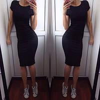 Летнее платье с коротким рукавом Трикотаж Черное