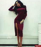 Классическое миди платье под горло с разрезом, фото 1