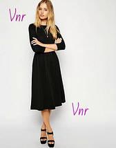 Черное трикотажное платье ниже колена с длинным рукавом и расклешенной юбкой 6 цветов, фото 3