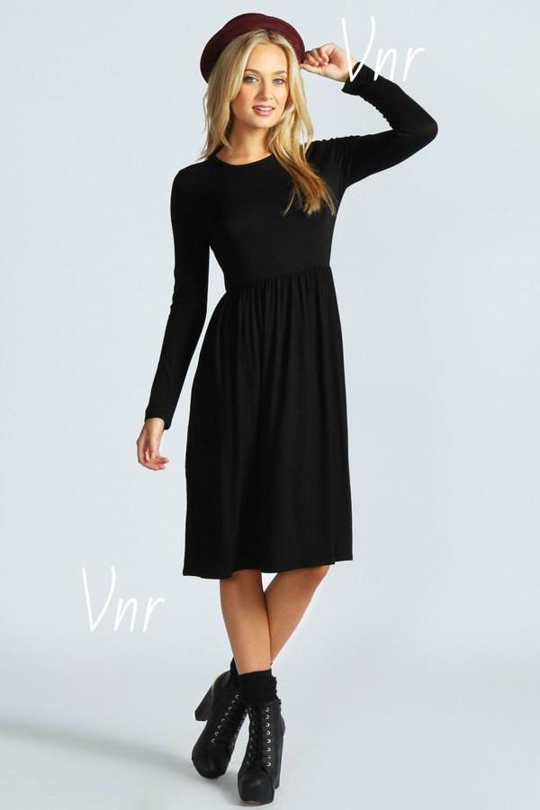 Черное трикотажное платье ниже колена с длинным рукавом и расклешенной юбкой 6 цветов