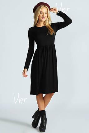 Черное трикотажное платье ниже колена с длинным рукавом и расклешенной юбкой 6 цветов, фото 2