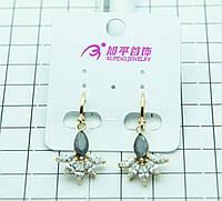 Серьги покрытые золотом с кристаллами оптом. 302
