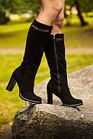 Сапоги женские из натуральной замши черного цвета на молнии с ремешком из черной кожи на устойчивом каблуке коллекция осень-зима 2016-2017, М-410 TM