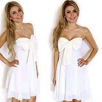 Женское белое летнее платье Бант