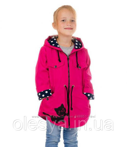Модная детская ветровка Кошечка для девочек Размер 28