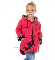 Модная детская ветровка Кошечка на девочку 2-3  лет. Цвет коралл
