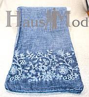 Женский палантин 9663 Хлопок Вышивка цветы Синий джинс