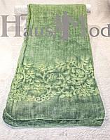Женский палантин 9663 Хлопок Вышивка цветы Зеленый