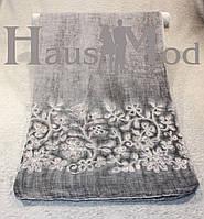 Женский палантин 9663 Хлопок Вышивка цветы Серый