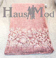 Женский палантин 9663 Хлопок Вышивка цветы Дымчато-розовый