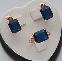 Красивый комплект Xuping покрытие золотом 18к. с прямоугольными синими кристаллами