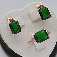 Красивый комплект Xuping покрытие золотом 18к. с прямоугольными зелеными кристаллами