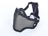 Маска защитная для пейнтбола на пол-лица из стальной сетки CS01-BK черный