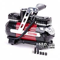 Компрессор автомобильный (насос) Intertool AC-0003 двухцилиндровый с манометром и сигнальным фонарем