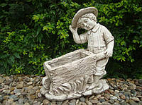 Садовая скульптура Мальчик с тележкой 47x25x52 cm