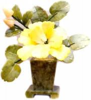 Каменный цветок (Пион в квадратном горшке, жёлтый, фото 1