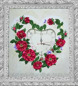"""Набор-часы для вышивания атласными лентами """"Розовое сердце"""""""