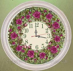 """Набор-часы для вышивания атласными лентами """"Розовый венок"""""""