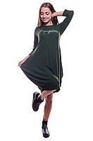 Стильное женское шерстяное платье бочонок по выгодным ценам (S,коричневый)