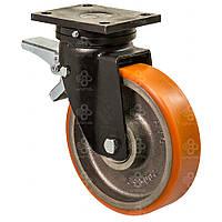 Колеса усиленные поворотные с крепеж.панелью и тормозом Hard с шар.подшп.Ø200мм