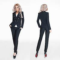 Женский черный брючный костюм, декорированный пуговками. Арт-9798/47