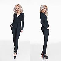 Стильный черный  брючный костюм в деловом стиле, с пояском. Арт-9799/47