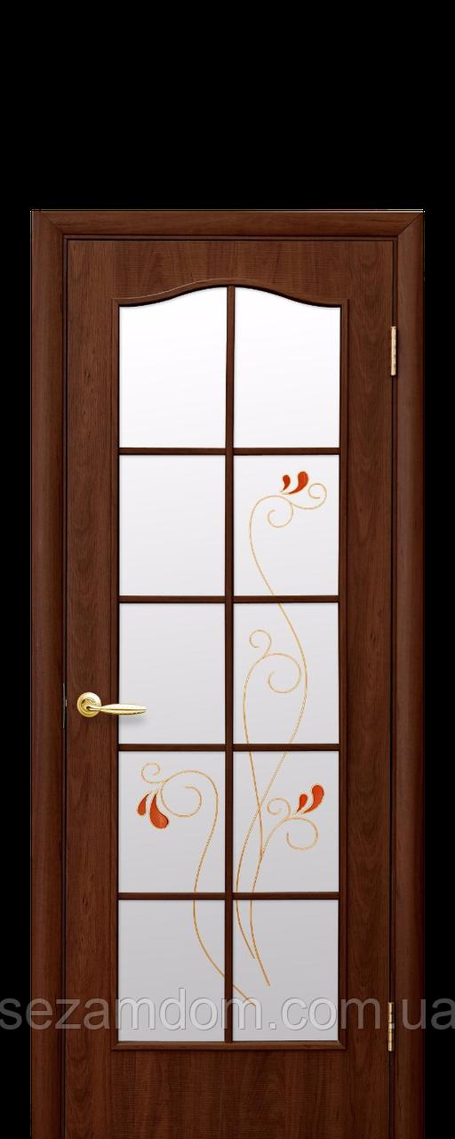 Дверь межкомнатная  СО СТЕКЛОМ САТИН И РИСУНКОМ ВИТРАЖ ПВХ