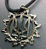Подвеска на каучуковом  шнуре  герб украины с колоском, тризуб