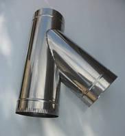 Тройники для дымохода из нержавеющей стали с термоизоляцией в нержавеющем кожухе (45°)