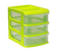 Мини-комод пластиковый на 3 ящика (салатовый), TM Idea