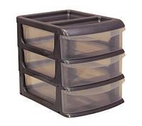 Мини-комод пластиковый на 3 ящика (металлик), TM Idea