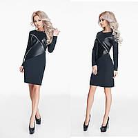 Модное черное трикотажное платье со вставками из эко-кожи, декорировано молниями. Арт-9804/47