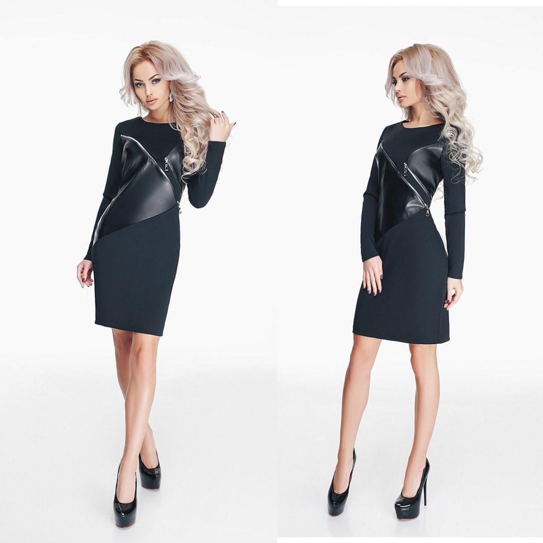 Модное черное трикотажное платье