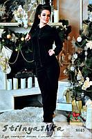 Женский черный велюровый костюм