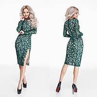 Модное зеленое гипюровое платье на трикотажной подкладке. Арт-9807/47